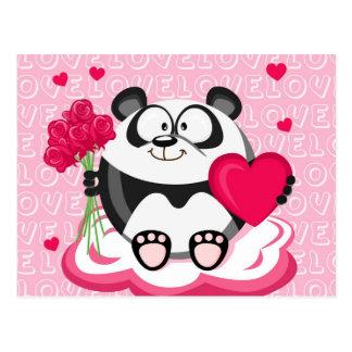 Panda do amor da série do círculo cartão postal