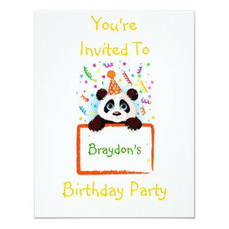 Panda do aniversário convite 10.79 x 13.97cm
