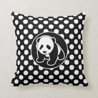 Panda em bolinhas preto e branco travesseiros de decoração