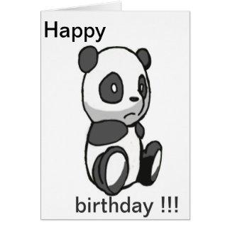 Panda Happy Birthday Card Cartão Comemorativo