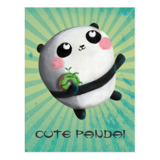 Panda redonda bonito cartão postal