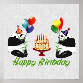 Pandas do aniversário pôster