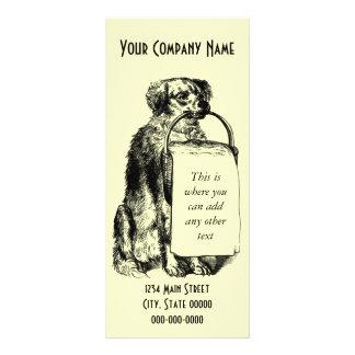 Panfleto Cão do vintage com cesta
