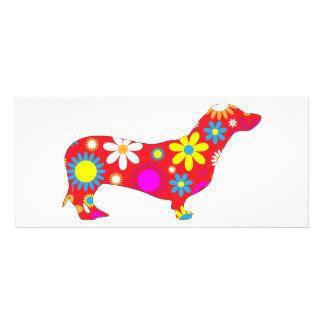 Panfleto Costume colorido floral retro funky do cão do