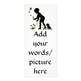 Panfleto Silhueta de flores da colheita da criança com cão
