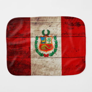 Paninho Para Bebês Bandeira de Peru na grão de madeira velha