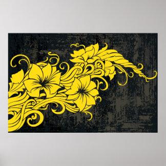Panno floral amarelo moderno da decoração poster