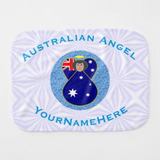 Pano De Boca Anjo australiano no quadrado Squiggly branco e