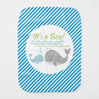 Pano De Boca Pano do Burp do bebé da baleia azul