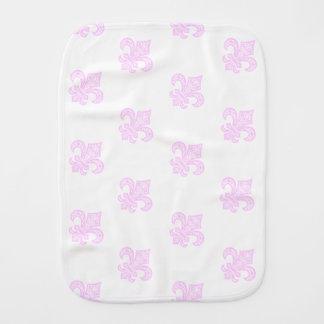 Pano De Boca Pano do Burp do bébé™ da flor de lis branco/rosa