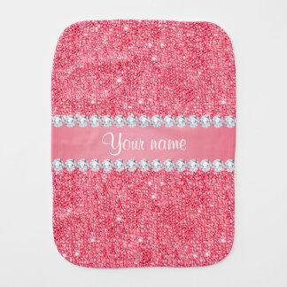 Pano De Boca Sequins e diamantes cor-de-rosa do falso