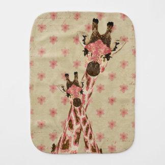 Pano floral do Burp dos girafas cor-de-rosa Paninho De Boca