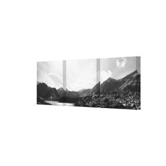 Panorâmico do lago symphony, Alaska - preto & Impressão Em Tela