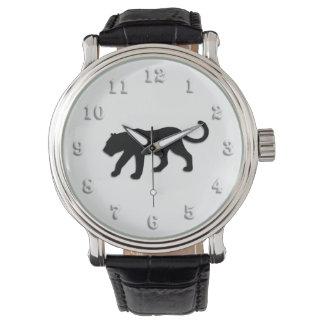 Pantera preta no branco relógio