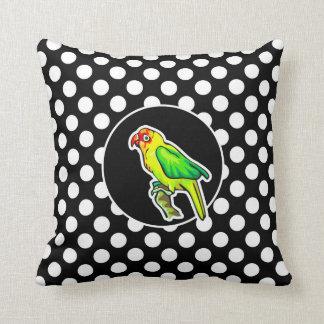 Papagaio em bolinhas preto e branco travesseiros de decoração