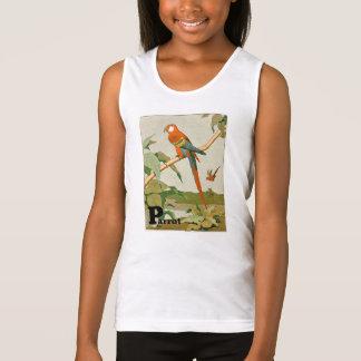 Papagaio na letra de bambu do alfabeto camisetas