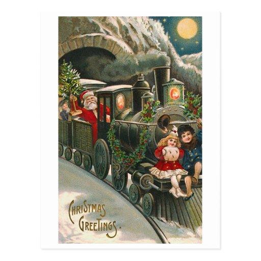 """""""Papai noel cartão do natal vintage de um trem"""" Cartões Postais"""