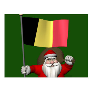 Papai Noel com a bandeira de Bélgica Cartao Postal