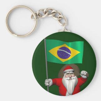Papai Noel com a bandeira de Brasil Chaveiro