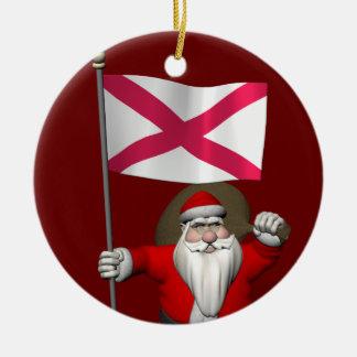 Papai Noel com a bandeira de Irlanda do Norte Ornamento De Cerâmica Redondo