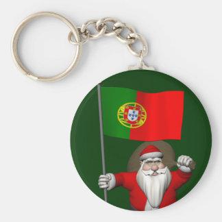 Papai Noel com a bandeira de Portugal Chaveiro