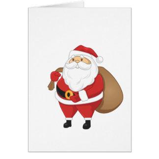 Papai noel com o saco dos presentes cartão comemorativo