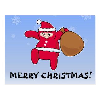 Papai noel de Ninja? Feliz Natal! Cartão Postal