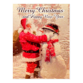 Papai noel do cartão do feliz ano novo do Feliz Cartão Postal