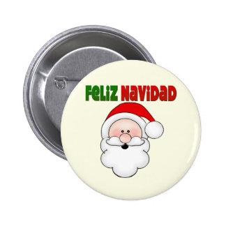 Papai noel do espanhol de Feliz Navidad Bóton Redondo 5.08cm