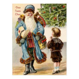 Papai noel do Victorian e cartão do Natal do menin Cartão Postal