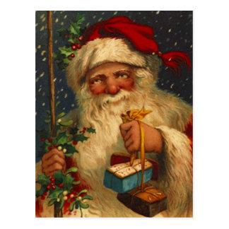 Papai noel do vintage com os flocos de neve cartão postal
