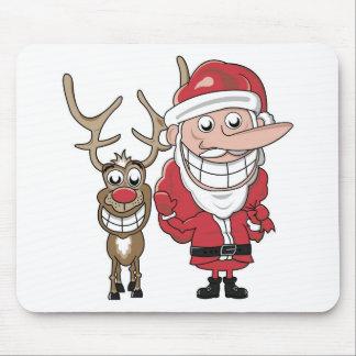 Papai noel e Rudolph engraçados dos desenhos anima Mouse Pad