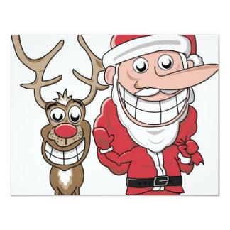 Papai noel e Rudolph engraçados dos desenhos Convite 10.79 X 13.97cm