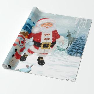 Papai Noel engraçado com boneco de neve Papel De Presente