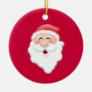 Papai Noel feliz enfrenta Ornamento De Cerâmica Redondo