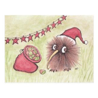 Papai noel festivo do pássaro do quivi cartão postal