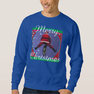 Papai noel que biking a camisola feia do Natal Moletom
