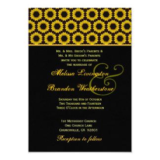 Papel amarelo e preto de feltro do casamento do convite 12.7 x 17.78cm