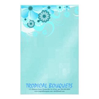 Papel azul dos artigos de papelaria do florista do