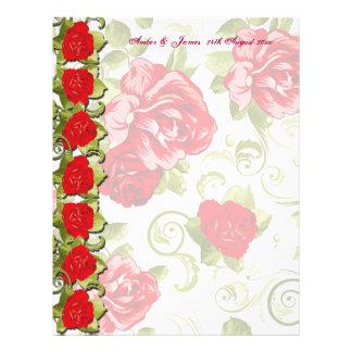 Papel cor-de-rosa da mensagem do convidado das flo flyer 21.59 x 27.94cm