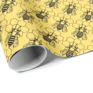 Papel de embrulho - abelha no favo de mel