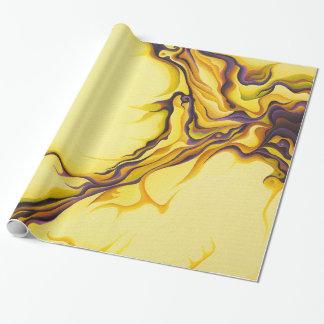 Papel de envolvimento amarelo do fluxo papel de presente