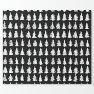 Papel de envolvimento branco das árvores papel de presente