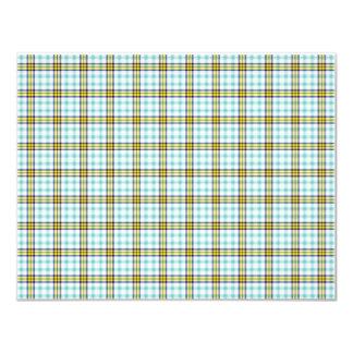 Papel de fundo azul e amarelo da xadrez convite 10.79 x 13.97cm