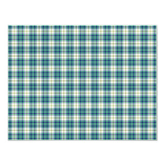 Papel de fundo azul e verde da xadrez convites personalizados