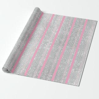 Papel De Presente A prata branca do pêssego cor-de-rosa das listras