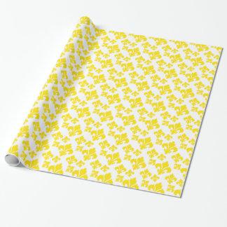 Papel De Presente Amarelo da flor de lis 4