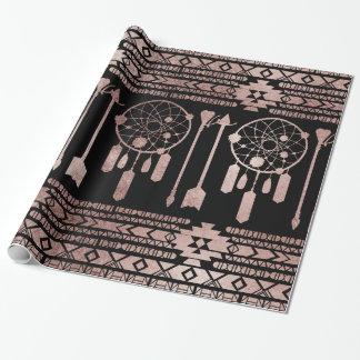Papel De Presente Asteca tribal do ouro cor-de-rosa de Dreamcatcher
