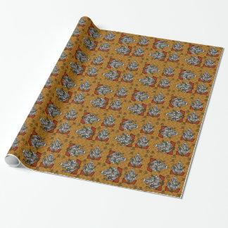 Papel De Presente Azulejos de Ganesha no fundo das bolinhas do