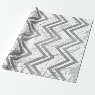 Papel De Presente Branco cinzento de Chevron do ziguezague de